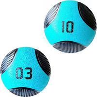 Kit 2 Medicine Ball Liveup Pro 3 E 10 Kg Bola De Peso Treino Funcional - Unissex