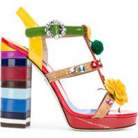 Dolce & Gabbana Sandália Com Bordado Floral - Vermelho