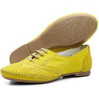 Sapato Casual Oxford Conforto Em Couro Amarelo
