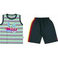 ... Conjunto Infantil Boca Grande Regata E Bermuda Masculino -  Masculino-Verde+Cinza 303790d3bdf81