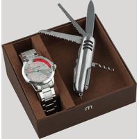 Kit De Relógio Analógico Mondaine Masculino + Canivete - 99324G0Mgne2K1 Prateado - Único