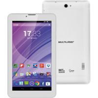 """Tablet Multilaser M7 Com Função Celular Nb224 - Tela 7"""", Processador Quad Core, 8Gb, Android 4.4, Conexão 3G + Wi-Fi, Câmera 2Mp + Frontal - Branco"""