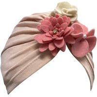 Turbante Infantil Cotton Com Flores Douvelin Rosa