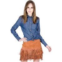 Camisa Jeans Com Bordado Colcci - Feminino-Azul