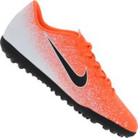 Chuteira Society Nike Mercurial Vapor X 12 Club Tf - Adulto - Laranja/Branco