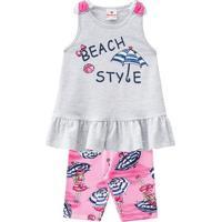 """Conjunto De Blusa """"Beach Style"""" + Bermuda Guarda-Sol- Cibrandili"""