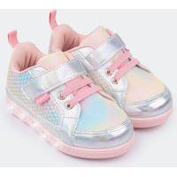 Tênis De Led Infantil Sneaker Luz Sereia Colorido Feminino Rosa