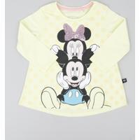 Blusa Infantil Minnie E Mickey Com Paetê Manga Longa Decote Redondo Amarela Claro