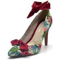 Sapato Feminino Scarpin Salto Alto Fino Em Tecido Floral Branco