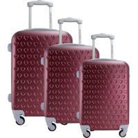 Conjunto De Mala De Viagem Love- Vermelho- 3Pã§S-Jacki Design