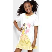 Camisola Infantil Lupo Bela Princesas Feminina - Feminino-Branco+Amarelo