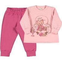 Conjunto Bebê Menina Moletom - Feminino-Pink