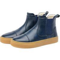 Bota Sneaker Infantil Couro Stepsgreen Resistente - Unissex-Marinho