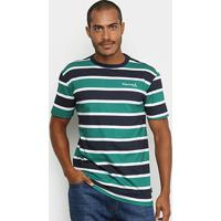 Camiseta Diamond Mini Og Script Striped Tee Masculina - Masculino-Marinho