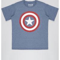 Camiseta Juvenil Capitão América Manga Curta Gola Careca Azul Marinho