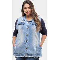 Colete Jeans Xtra Charmy Max Plus Size Feminino - Feminino-Azul