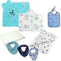 Kit Acessórios Bebê 8 Pças Travesseiro Toalha Cueiro Babador Azul