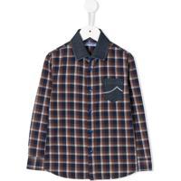 Jacob Cohen Junior Camisa Jeans Com Estampa Xadrez - Azul