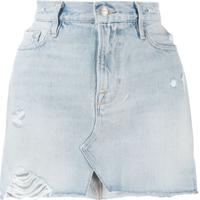Frame Distressed Mini Denim Skirt - Azul