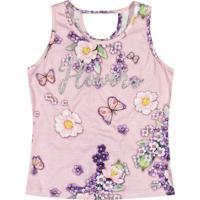 Blusa Floral Com Recorte- Rosa Claro & Roxa- Marisolmarisol