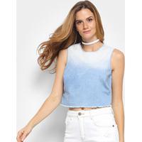 Blusa Triton Cropped Jeans Feminina - Feminino-Jeans