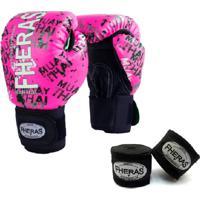Kit Boxe Muay Thai Fheras New Top Luva + Bandagem Grafite Rosa 002