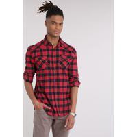 CEA  Camisa Masculina Em Flanela Estampada Xadrez Com Bolsos Manga Longa  Vermelha c6117799589