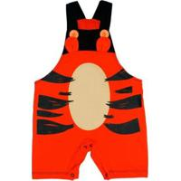 Macacão Bebê Piftpaft Jardineira Tigre - Unissex-Laranja