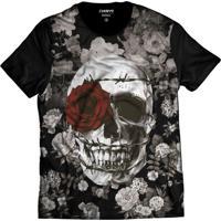 Camiseta Di Nuevo Caveira Floral Coroa De Espinhos E Rosa Vermelha Preta