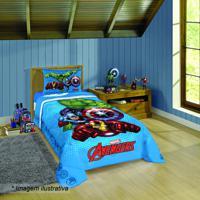Edredom Avengers® Solteiro- Azul Claro & Vermelho- 1Lepper