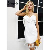Vestido De Festa Bordado Simplee - Branco