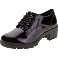 Sapato Feminino Oxford Via Marte - 208006 Verniz/Preto 38