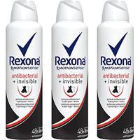 Kit Desodorante Rexona Women Aerosol Antibacterial + Invisible Feminino 150Ml 3 Unidades - Feminino-Incolor