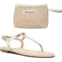 Kit Shoestock Rasteira Palmilha Corda+Necessaire Juta - Feminino-Ouro