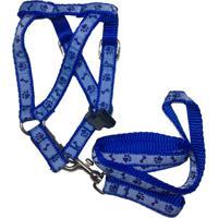 Guia Com Peitoral Ajustável Mais Dog N° 02 Azul Decorado 1 Unidade