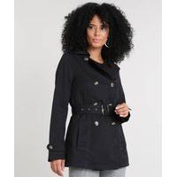 Casaco Trench Coat Feminino Com Bolsos Preto