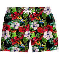Shorts Confort Stretch Masculino Estampado Florido Floral Vermelho Verde Rosa Praia Piscina Dia A Dia Poliéster Elastano