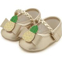 Sapato Pimpolho Menina Abacaxi Dourado