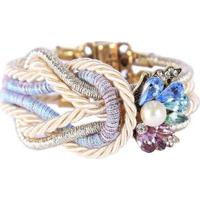 Pulseira Armazem Rr Bijoux Cristais Pérola Feminina - Feminino-Dourado+Azul