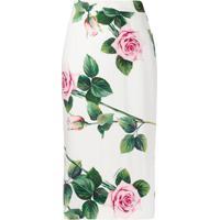 Dolce & Gabbana Saia Lápis Com Estampa De Rosa - Branco
