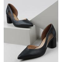 Sapato Feminino Vizzano Salto Baixo Grosso Bico Fino Com Recorte Em Tule Preto