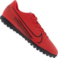 Chuteira Society Nike Mercurial Vapor 13 Club Tf - Adulto - Coral/Preto
