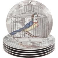 Fornasetti Conjunto De Pratos De Porcelana Estampados - Cinza