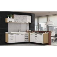 Cozinha Suspensa Modulada Completa Com 8 Módulos Sense Nature/Branco/Azulejo - Kappesberg