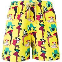 Short Tactel Legs Praiar Masculino - Masculino-Amarelo