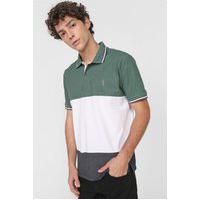 Camisa Polo Aleatory Reta Tricolor Bordado Verde/Branca