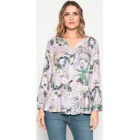 Camisa Floral - Lilás & Verdedudalina