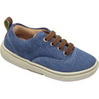 Tênis Jeans Com Recorte - Azul & Marrom- Oliveroliver
