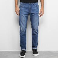 Calça Jeans Slim Calvin Klein Estonada Puídos Masculina - Masculino