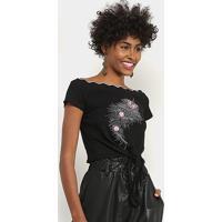 Blusa Lily Fashion Com Aplicação Feminina - Feminino-Preto